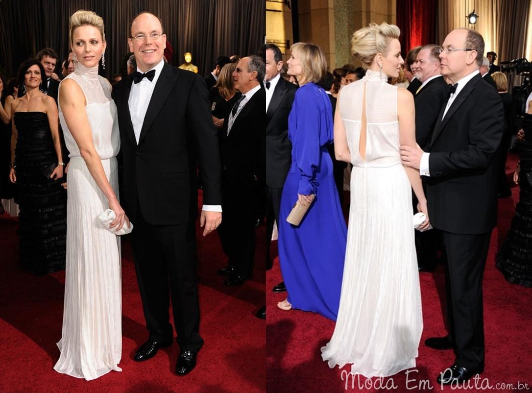Príncipe Albert II e Princesa Charlene Wittstock looks Oscar 2012