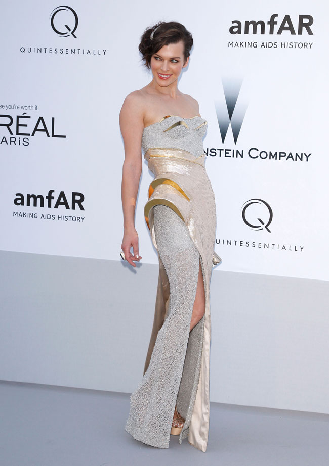 Milla Jovovich no Baile da amfAR em Cannes 2012