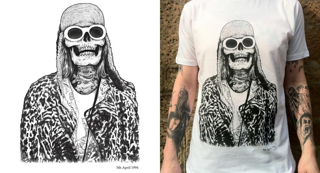 Camiseta Caveira Kurt Cobain