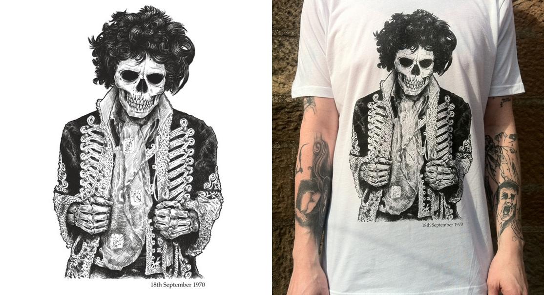 Camiseta Caveira Jimi Hendrix