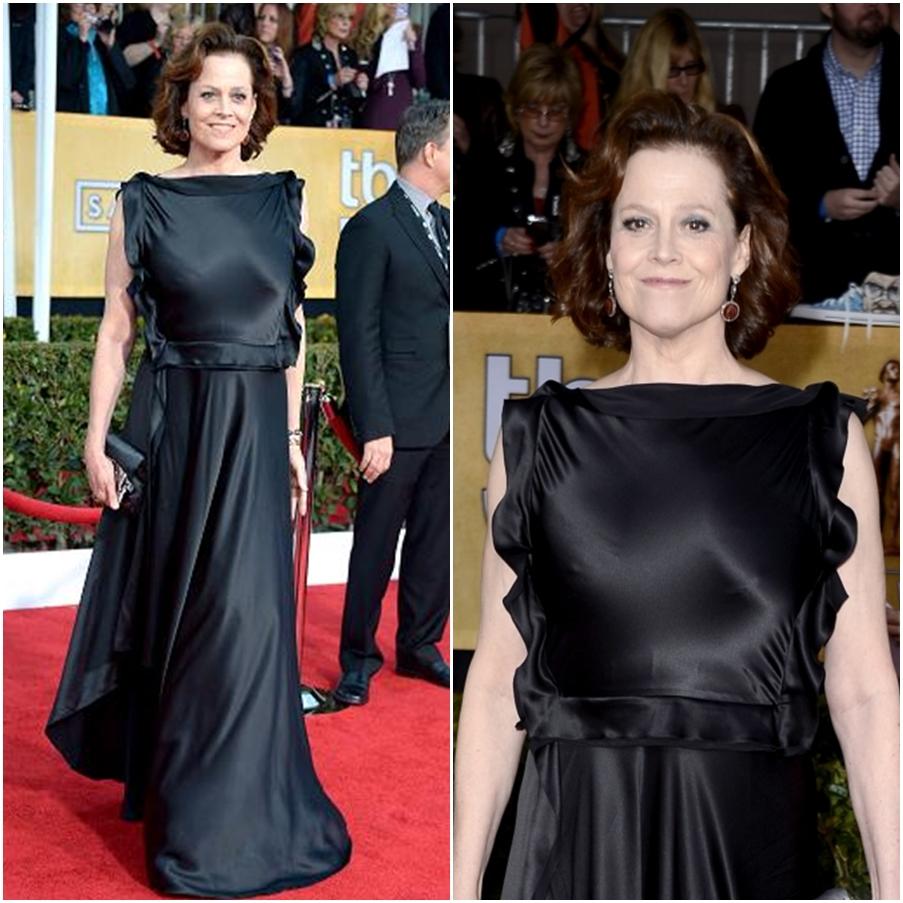 Sigourney Weaver usou vestido ao contrário durante o SAG Awards
